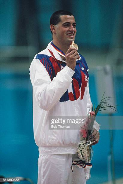 American swimmer Matt Biondi with his gold medal after winning the Men's 50 m freestyle event at the Summer Olympic in Seoul South Korea 24th...