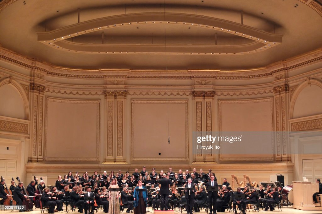 American Symphony Orchestra, with Bard Festival Chorale, performs Elgar's 'The Apostles' at Carnegie Hall on Friday night, May 12, 2017. This image: Soloists from left, Jennifer Check, Sara Murphy, Paul McNamara and Joseph Beutel. Leon Botstein conducts.