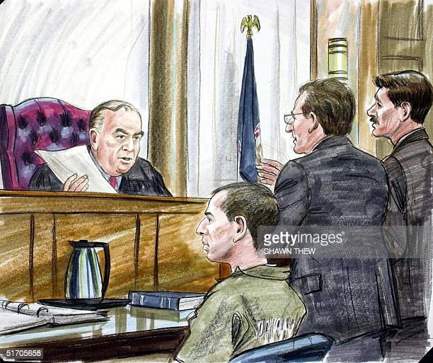 American Taliban John Walker Lindh with his attorney George Harris and US Attorney Randy Bellows appear before Judge TS Ellis III 15 February 2002 in...