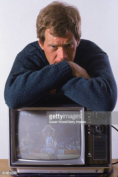 American talk show host David Letterman poses while leaning on a television set as his home Westchester County New York March 1984