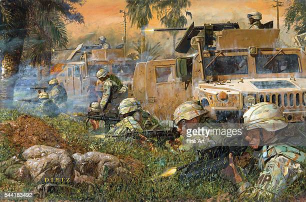 American tanks and soldiers firing on insurgent snipers after a roadside attack Salman Pak Iraq March 20 2005 Oil on canvas by Dietz