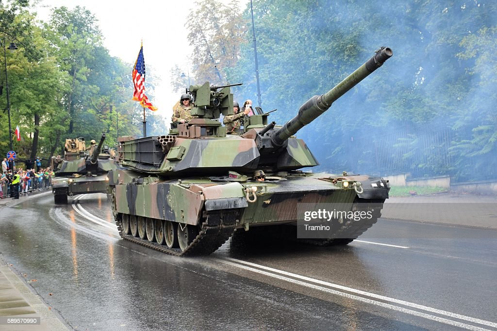 American tanks driving on the street : Stock Photo