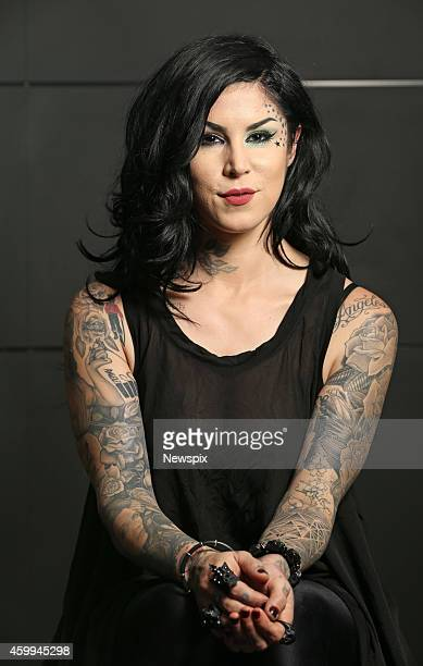 American tattoo artist and television personality Kat Von D poses during a photo shoot at Westfield Sydney on December 3 2014 in Sydney Australia