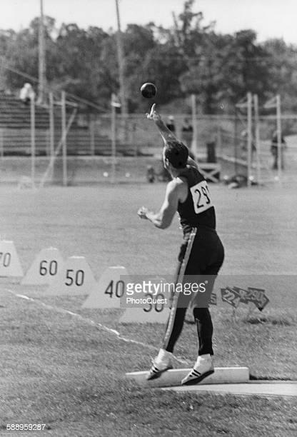 American teacher and decathlete Bill Toomey flings shot put during the Pan American Games Winnipeg Manitoba Canada August 1967