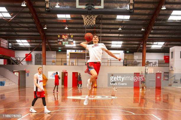 American teenage star LaMelo Ball drives to the basket during an Illawarra Hawks NBL training session at The Snakepit on August 21 2019 in Wollongong...