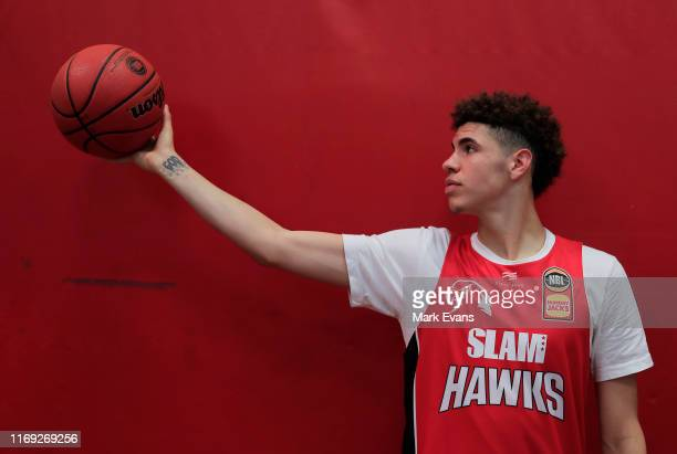 American teenage star, LaMelo Ball poses for a photograph during an Illawarra Hawks NBL media opportunity at The Snakepit on August 21, 2019 in...