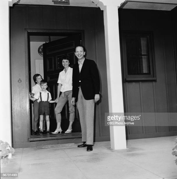 American television actor Don Knotts stands his family on the porch of their home March 2 1961 From left daughter Karen son Tom Knotts and wife Kay
