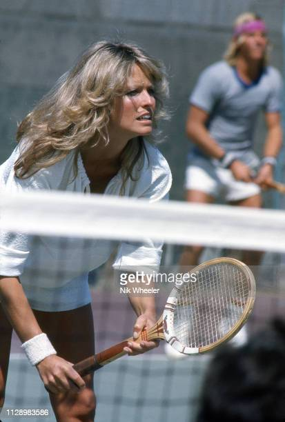 American television actress and star of Charley's Angels TV series plays mixed doubles with Vince Van patten in a celebrity tennis tournament in Los...