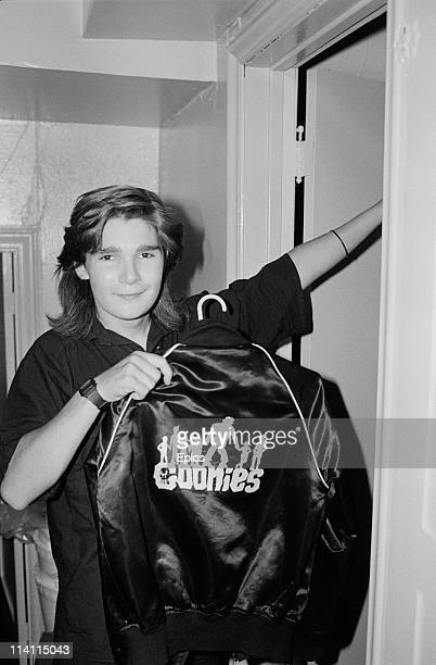 American television and film actor Corey Feldman poses with a jacket branded with 'The Goonies' on the back a film that Feldman starred in United...
