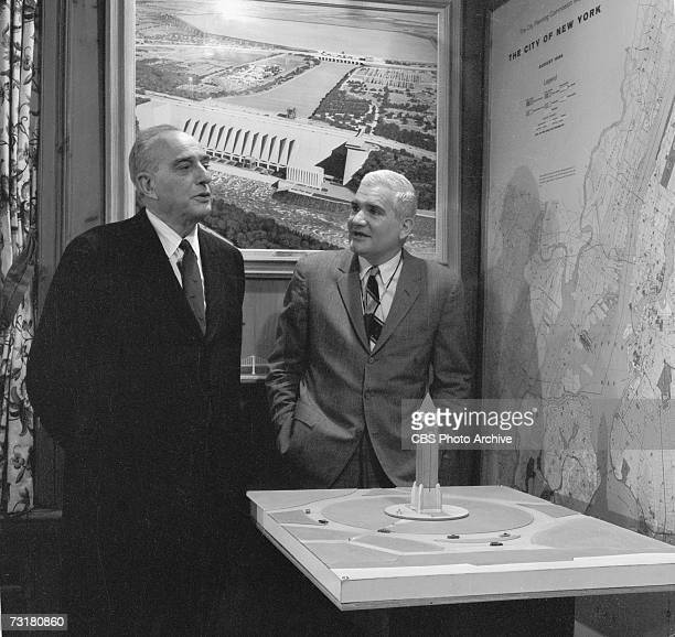 American television journalist and producer Bill Leonard interviews public official and city planner Robert Moses in the latter's office during the...