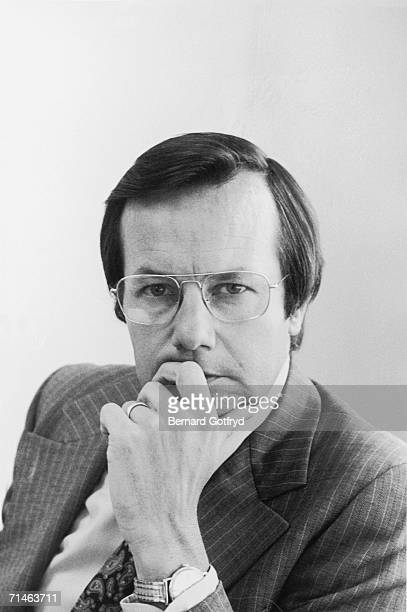 American television journalist author and former White House press secretary Bill Moyers poses for a portrait with his chin in his heand mid 1970s...