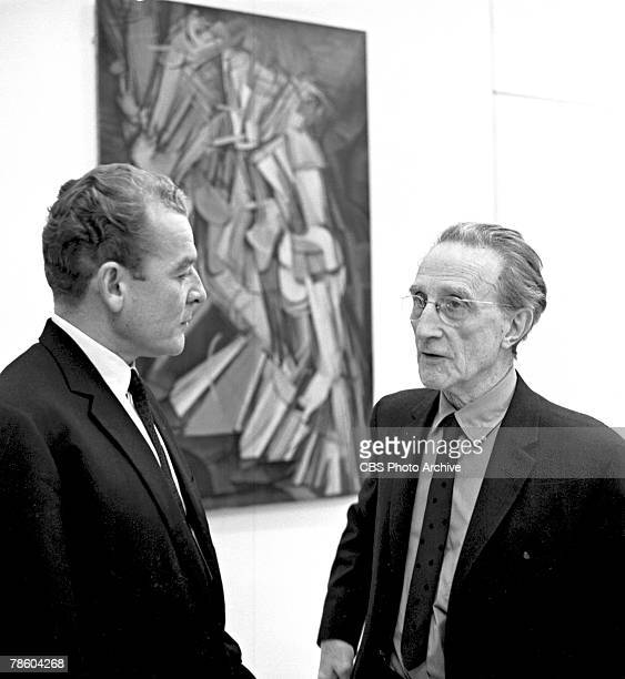 American television journalist Charles Collingwood interviews French-born American artist Marcel Duchamp for the television program 'Eyewitness to...