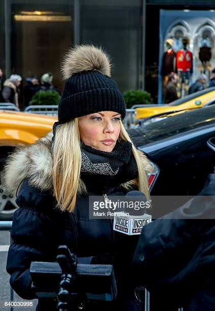 American television journalist Diane McInerney of the show 'Inside Edition' prepares a report across the street from Trump Tower New York New York...