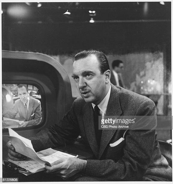 American television journalist Walter Cronkite on the set of the CBS News program 'The Morning Show' New York New York January 27 1954