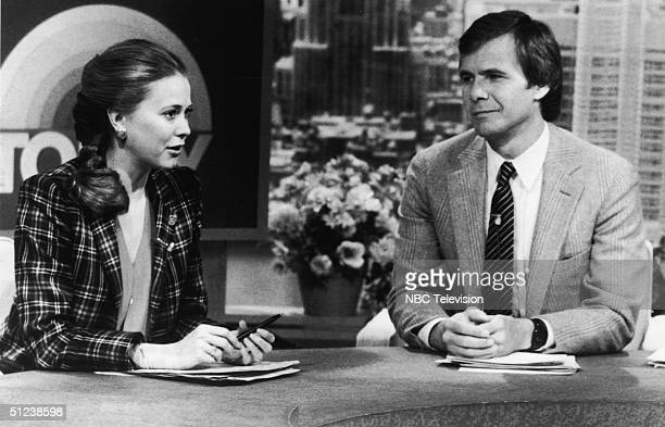 American television personalities Tom Brokaw and Jane Pauley sit at their desk as they host an episode of the NBC morning news program 'Today' in New...