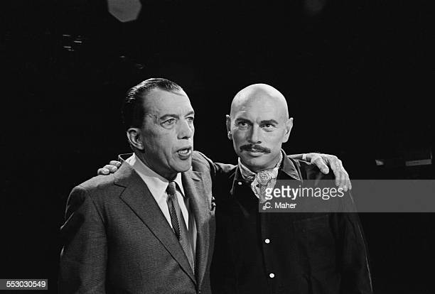 American television personality Ed Sullivan with Russian-born actor Yul Brynner on the 'The Ed Sullivan Show' set, USA, 7th August 1967.