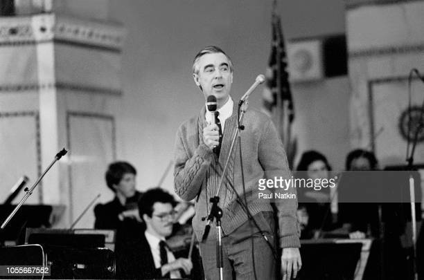 American television personality Fred Rogers of the television show Mister Rogers' Neighborhood at the Chicago Public Library in Chicago Illinois...