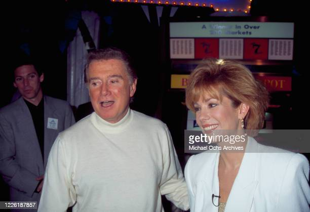 American television presenter Regis Philbin and American television presenter Kathie Lee Gifford attend the National Association of Television...