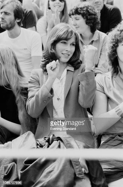 American television producer and playmate Patti McGuire cheering for her husband Jimmy Connors at Wimbledon London UK 2nd July 1980
