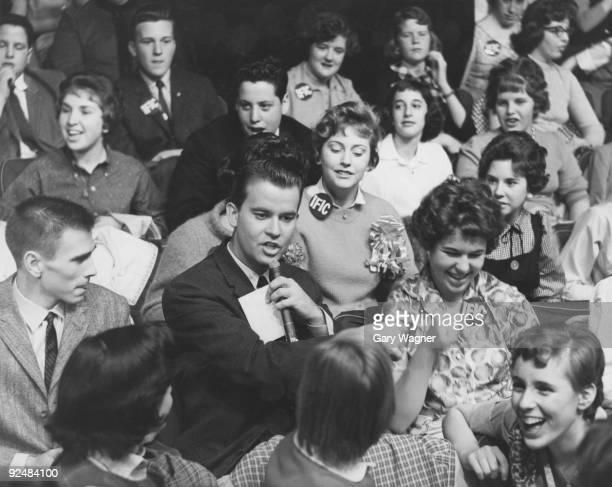 American television show host Dick Clark presents 'American Bandstand' circa 1958