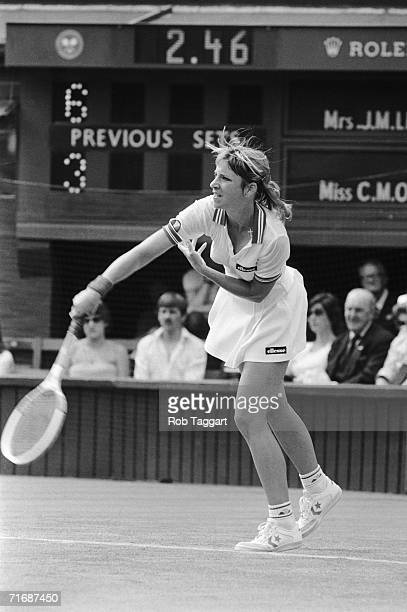 American tennis champion Chris Evert wins the first match of the ladies' singles at Wimbledon, 23rd June 1981. Her opponent was Australia's Chris...