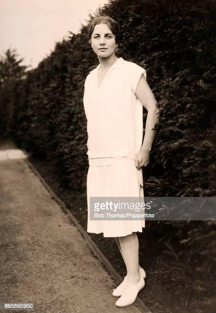 American tennis champion Helen Wills at Wimbledon, circa 1927.