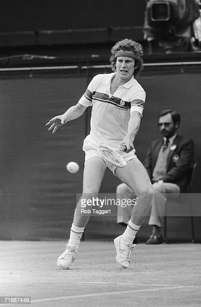 American tennis champion John McEnroe wins the finals of the men's singles at Wimbledon 4th July 1981 His opponent was Sweden's Bjorn Borg