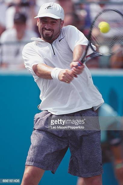 American tennis player Andre Agassi of the United States team pictured competing to win the gold medal in the Men's singles tennis event at the 1996...