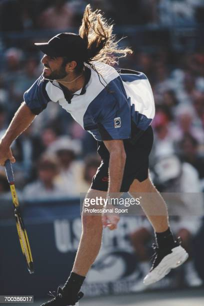 American tennis player Andre Agassi pictured in action during competition to reach and win the final of the 1994 US Open Men's Singles tennis...