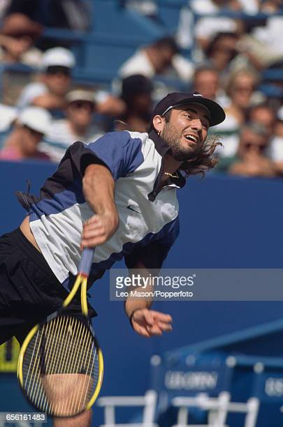 American tennis player Andre Agassi pictured in action during competition to progress to win the final of the 1994 US Open Men's Singles tennis...