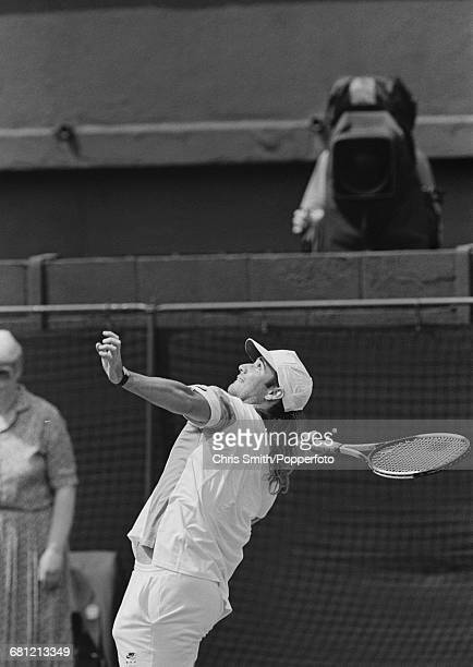 American tennis player Andre Agassi pictured in action to win his third round match against Australian tennis player Pat Rafter 61 67 60 63 in the...