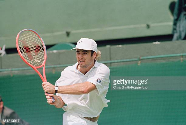 American tennis player Andre Agassi pictured in action to win his semifinals match against fellow American tennis player John McEnroe 64 62 63 in the...