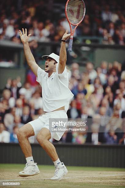 American tennis player Andre Agassi pictured in celebration after winning the final of the Men's Singles tournament against Goran Ivanisevic at the...