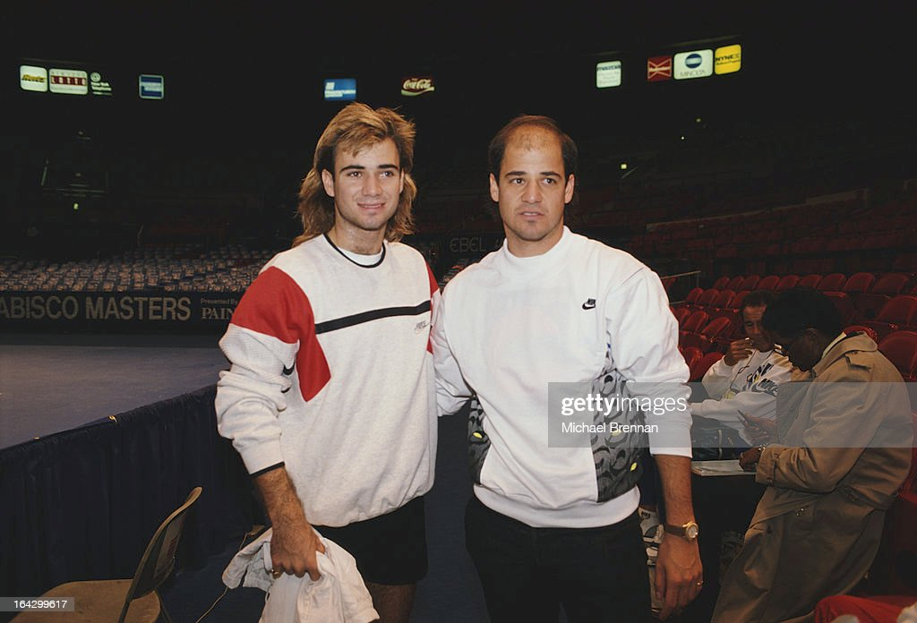 American tennis player Andre Agassi (left) with his brother Phil at Madison Square Garden, New York City, 1992.