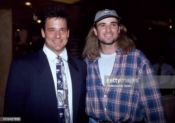 American tennis player Andre Agassi with his brother Phil at the ATP Players' Awards Party during the ATP Tour World Championships at Planet...