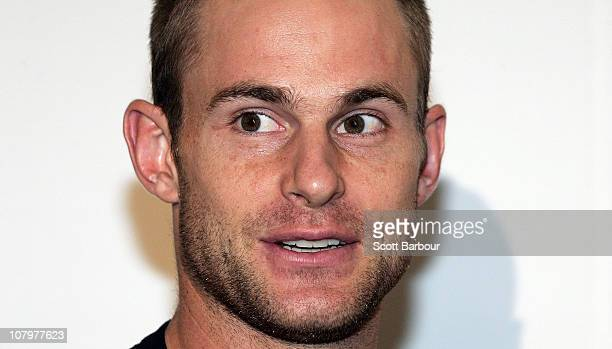 870964680ae9cd American tennis player Andy Roddick looks on during an instore promotion of  the Lacoste Challenge at