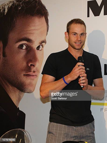 b7209a6bc81e95 American tennis player Andy Roddick speaks during an instore promotion of  the Lacoste Challenge at Myer