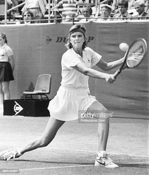 American tennis player Anne White in action during a tennis tournament circa 1986