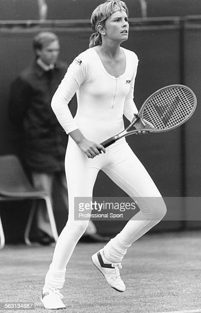 American tennis player Anne White in action wearing a one piece leotard at Wimbledon Tennis Championships London June 1985