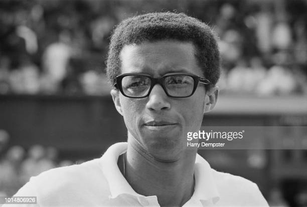 American tennis player Arthur Ashe at Wimbledon during the semifinal match against Rod Laver All England Lawn Tennis and Croquet Club London UK 7th...