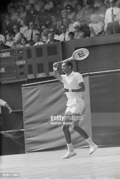 American tennis player Arthur Ashe in action at Wimbledon Championships Men's Singles at the All England Lawn Tennis and Croquet Club in Wimbledon...
