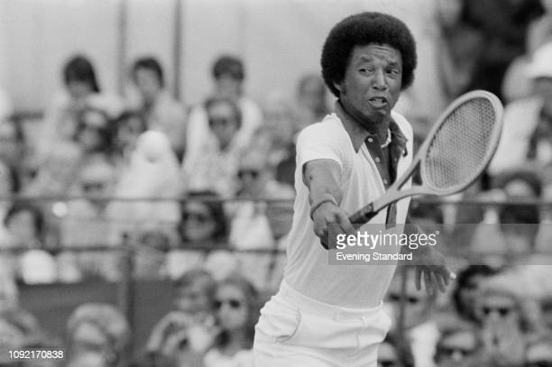 American tennis player Arthur Ashe in action UK 17th June 1975