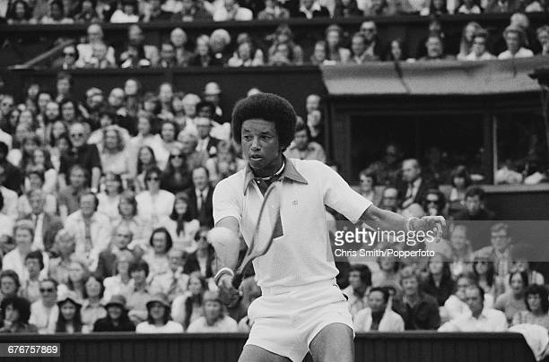 American tennis player Arthur Ashe pictured in action competing to win the final of the Men's Singles tournament against fellow American tennis...