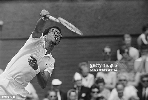 American tennis player Arthur Ashe pictured in action during competition to win his fourth round match against fellow American Pancho Gonzales before...