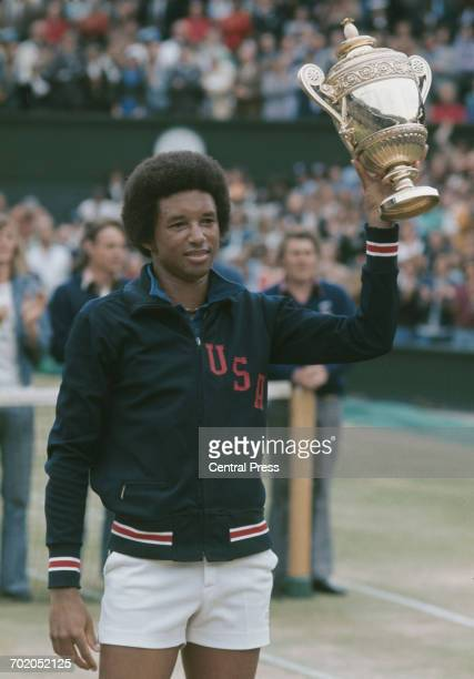 American tennis player Arthur Ashe wins the Men's Singles at Wimbledon, London, 5th July 1975.