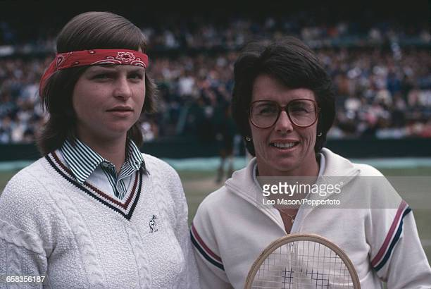 American tennis player Billie Jean King and Czechoslovak tennis player Hana Mandlikova posed together beside the court before their fourth round...