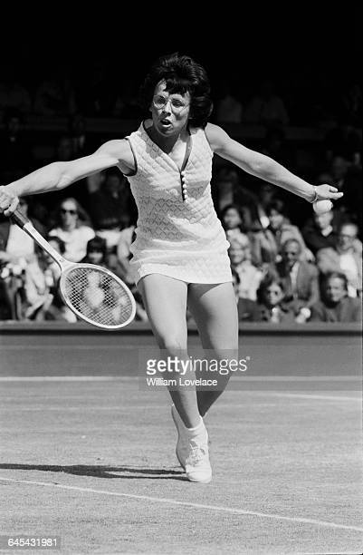 American tennis player Billie Jean King at Wimbledon London UK 28th June 1971