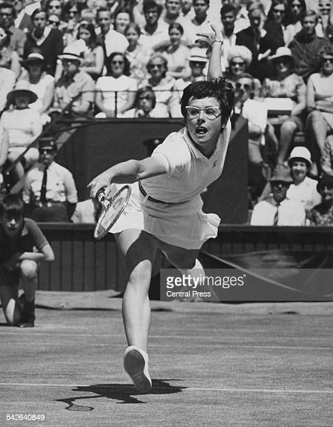 American tennis player Billie Jean King competing against Ann Jones of Great Britain in the final of the Ladies' Singles at the Wimbledon Lawn Tennis...