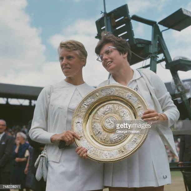 American tennis player Billie Jean King holds the trophy after beating Ann HaydonJones of Great Britain 36 46 to win the Ladies' Singles final at...
