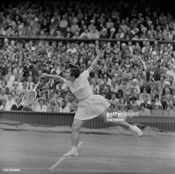 American tennis player Billie Jean King in action during the Women's Singles semifinal against Ann Jones at Wimbledon Championships London UK 4th...